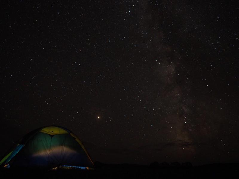 キャンプで満天の星空